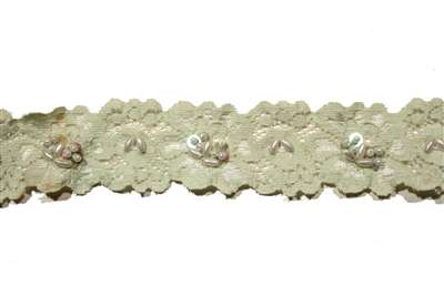 LST-BED-107-LIGHTGREEN.  Beaded Stretch Lace