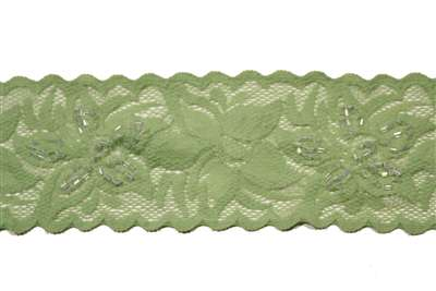 LST-BED-109-GREEN.  Beaded Stretch Lace