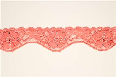LST-BED-114-PINK.  Beaded Stretch Lace