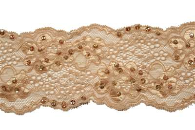LST-BED-115-BEIGE.  Beaded Stretch Lace