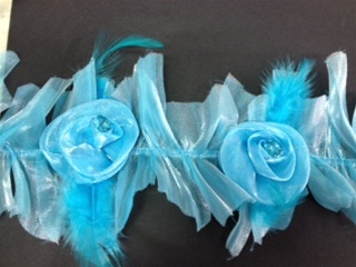 LST-FLR-101-BLUE.  STRETCH FLORAL LACE WITH FEATHER AND CRYSTALS
