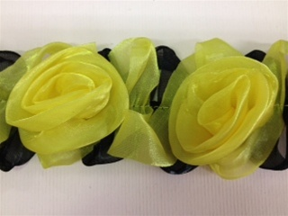 LST-FLR-117-YELLOW.  STRETCH FLORAL LACE