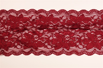"LST-REG-117-BURGUNDY.  6.0""-wide Stretch Lace"