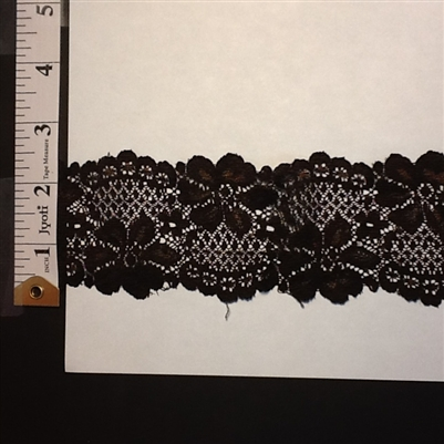 LST-REG-214-BLACK.  STRETCH LACE - 2 INCH WIDE