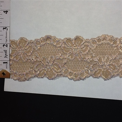 LST-REG-214-CAMEL.  STRETCH LACE 2 INCH WIDE