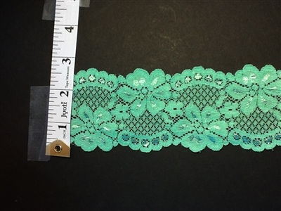LST-REG-214-GREEN.  STRETCH LACE 2 INCH WIDE