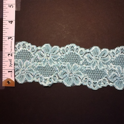 LST-REG-214-OCEANGREEN.  STRETCH LACE 2 INCH WIDE