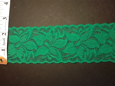 LST-REG-215-GREEN.  STRETCH LACE 2 INCH WIDE