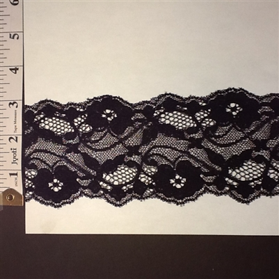 LST-REG-304-BLACK.  STRETCH LACE 3 INCH WIDE - BLACK