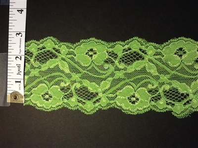 LST-REG-304-LIMEGREEN.  STRETCH LACE 3 INCH WIDE - LIMEGREEN