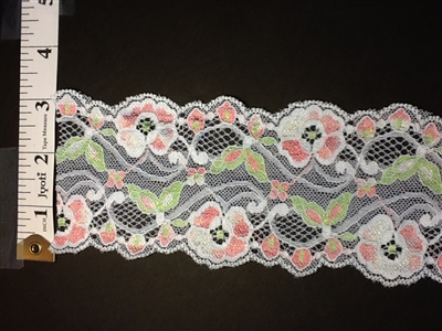 LST-REG-304-MULTI.  STRETCH LACE 3 INCH WIDE - MULTI