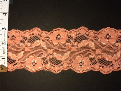 LST-REG-304-PEACH.  STRETCH LACE 3 INCH WIDE - PEACH
