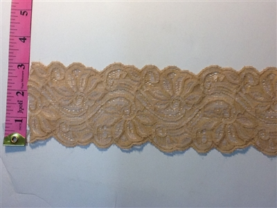 LST-REG-305-CAMEL.  STRETCH LACE 3 INCH WIDE - CAMEL