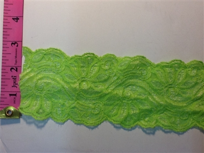 LST-REG-305-GREEN.  STRETCH LACE 3 INCH WIDE - GREEN