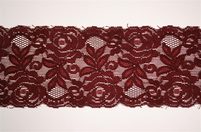 "LST-REG-339-BURGUNDY.  3.0""-wide Stretch Lace"