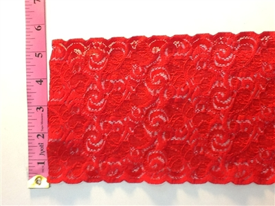 LST-REG-504-RED.  STRETCH LACE 5 INCH WIDE - RED