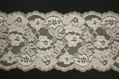 "LST-REG-602-BEIGE.  60.""-wide Double Scallop Stretch Lace"
