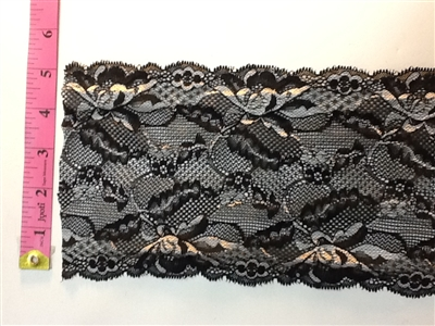 LST-REG-614-BLACK.  STRETCH LACE 6 INCH WIDE - BLACK