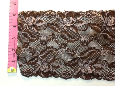 LST-REG-614-MULTIBROWN.  STRETCH LACE 6 INCH WIDE - MULTI BROWN