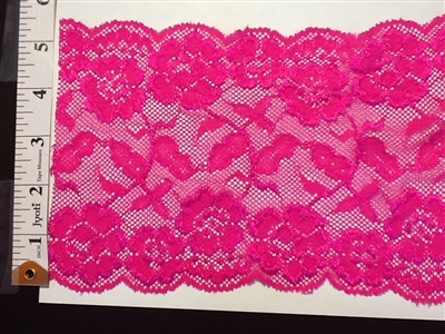 LST-REG-621-FUCHSIA.  STRETCH LACE 6 INCH WIDE - FUCHSIA