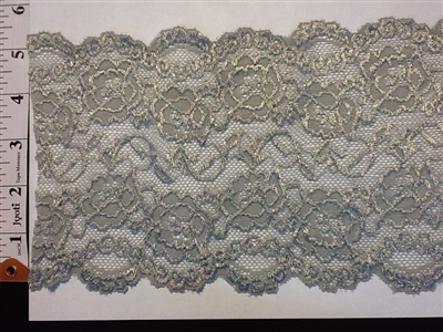 LST-REG-621-GREY.  STRETCH LACE 6 INCH WIDE - GREY