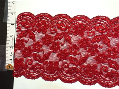 LST-REG-621-MAROON.  STRETCH LACE 6 INCH WIDE - MAROON