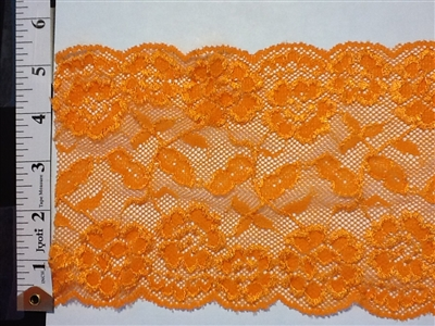 LST-REG-621-ORANGE.  STRETCH LACE 6 INCH WIDE - ORANGE
