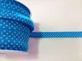 RBN-FOV-103-POLKADOT-BLUE.  ELASTIC FOLD-OVER POLKA DOT BLUE - 5/8 INCH WIDE