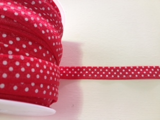 RBN-FOV-103-POLKADOT-RED.  ELASTIC FOLD-OVER POLKA DOT RED
