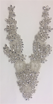 RHS-APL-032-SILVER.  Rhinestone Applique V-Neck Hot Fix. 11 x 4.5 Inches