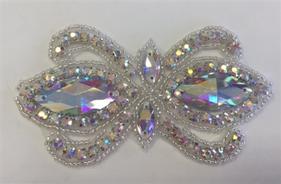 RHS-APL-1504-AB. CRYSTAL RHINESTONE APPLIQUE WITH AB STONES AND SILVER BEADS- 2 X 4 INCHES