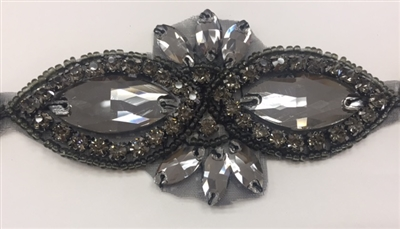 RHS-APL-1507-BLACKBLACK. CRYSTAL RHINESTONE APPLIQUE WITH BLACK STONES AND BLACK BEADS- 2 X 3.75 INCHES
