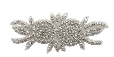 RHS-APL-170-SILVER.  Hot-Fix or Sew-On Crystal Rhinestone Applique - 7 Inch x 3 Inch