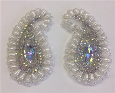 RHS-APL-1803-WHITESILVER-PAIR.  Hot-Fix, Sew-On Rhinestone Appliques (Pair) - White Pearls, AB Rhinestones, Silver Beads - 2.75 x 5 Inches