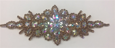 RHS-APL-422-BRONZE.  Hot Fix / Sew-On Crystal Rhinestone Applique - AB and Bronze Crystals - 9 inch X 3 inch