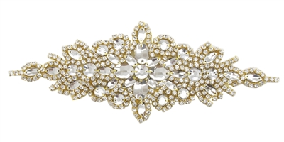 RHS-APL-422-GOLD.  Crystal Rhinestone Applique - 9 x 3 INCHES