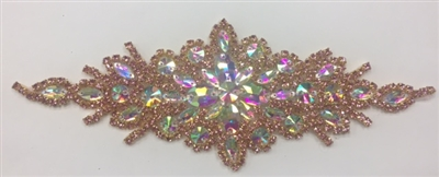 RHS-APL-422-ROSE.  Hot Fix / Sew-On Crystal Rhinestone Applique - AB and Rose Crystals - 9 inch X 3 inch