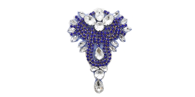 "RHS-APL-475-ROYALBLUE.  ROYALBLUE Crystal Rhinestone Applique - 3"" x 5"""