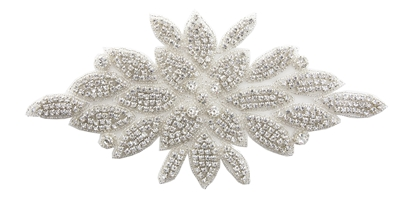 RHS-APL-507-SILVER. Hot Fix / Sew-On Clear Crystal Rhinestone Applique - 10 X 5 Inches