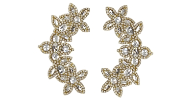 "RHS-APL-511-PAIR-GOLD.  CRYSTAL RHINESTONE APPLIQUE PAIR.  6.5"" x 2.5"""