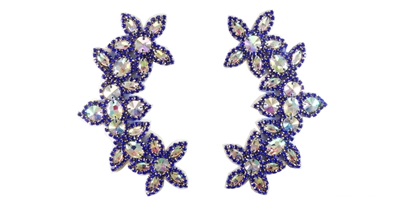 "RHS-APL-511-PAIR-ROYALBLUE.  CRYSTAL RHINESTONE APPLIQUE PAIR.  6.5"" x 2.5"""