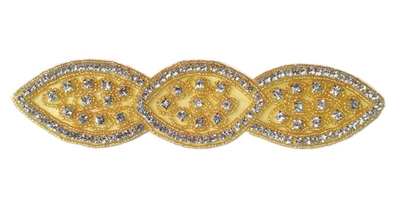 "RHS-APL-516-GOLD.  CRYSTAL RHINESTONE APPLIQUE.  8"" x 2"""