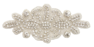 RHS-APL-530-SILVER.  CRYSTAL RHINESTONE APPLIQUE.  6.25 X 3 INCHES