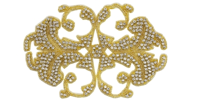 "RHS-APL-546-GOLD.  CRYSTAL RHINESTONE APPLIQUE - 8"" X 5"""
