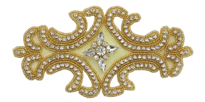 "RHS-APL-549-GOLD.  CRYSTAL RHINESTONE APPLIQUE.  7""x3.5"""