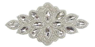 RHS-APL-558-SILVER.  RHINESTONE APPLIQUE.  9 x 5 inches