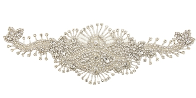 RHS-APL-698-SILVER.  Sew-On Clear Crystal Rhinestone Applique - On Net - Silver Beads- 12 X 4 Inches
