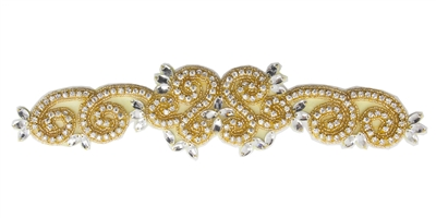 "RHS-APL-736-GOLD.  CRYSTAL RHINESTONE APPLIQUE - 11"" X 2.5"""
