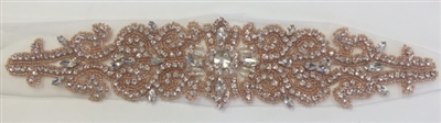 RHS-APL-737-ROSE.  Sew-On Clear Crystal Rhinestone Applique - On Net - Rose Beads- 12 X 3 Inches