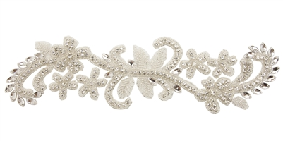 RHS-APL-782-SILVER.  Sew-On Clear Crystal Rhinestone Applique - On Net - Silver Beads - 11.5 X 3 Inches